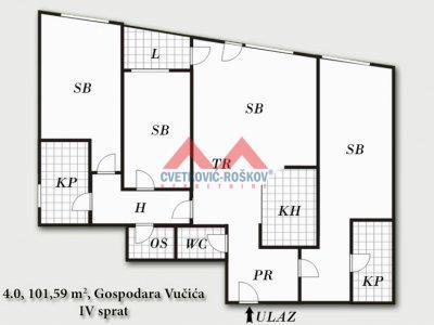 Detaljnije : STAN, 4.0, prodaja, Beograd, 101.59 m2, 279373e