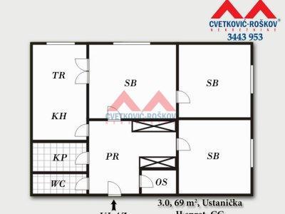 Detaljnije : STAN, 3.0, prodaja, Beograd, 69 m2, 77000e